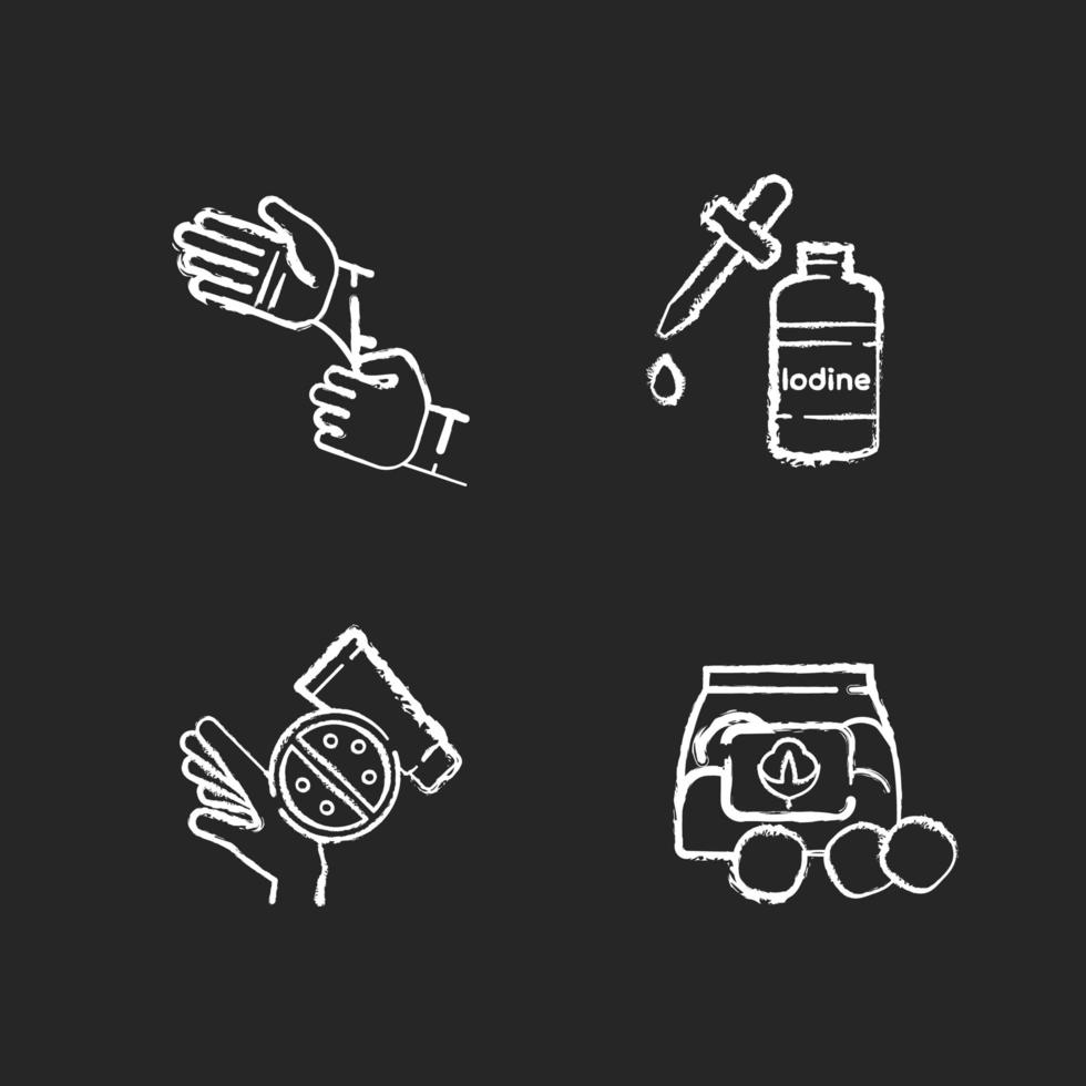 Kreide weiße Ikonen der medizinischen Ausrüstung setzen auf schwarzen Hintergrund vektor