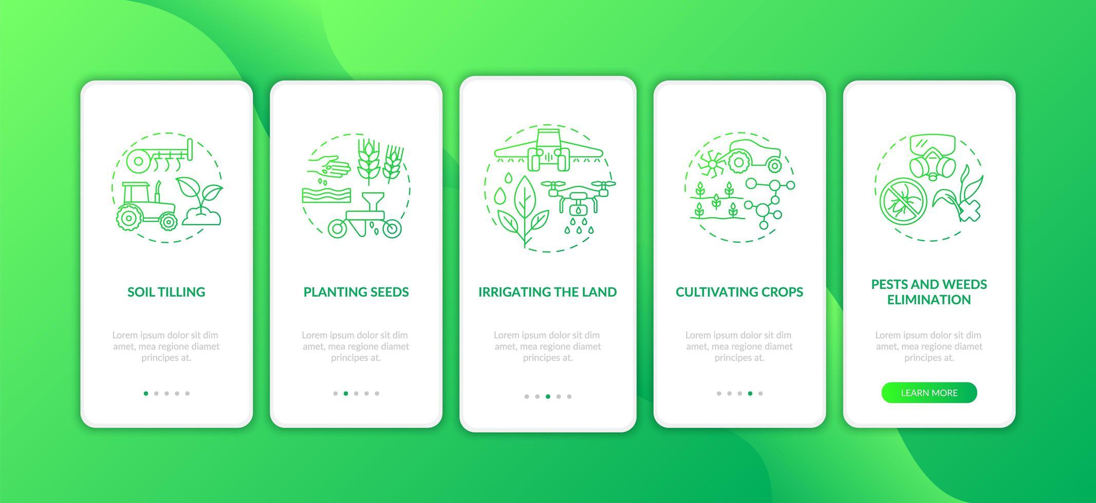 Landwirtschaftsmaschinen Aufgaben Onboarding Mobile App Seite Bildschirm mit Konzepten vektor