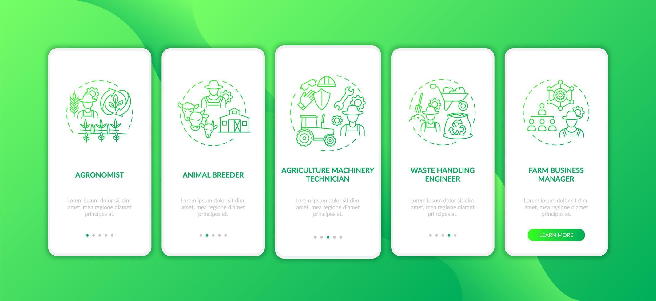 Top Landwirtschaft Karriere Onboarding Mobile App Seite Bildschirm mit Konzepten vektor