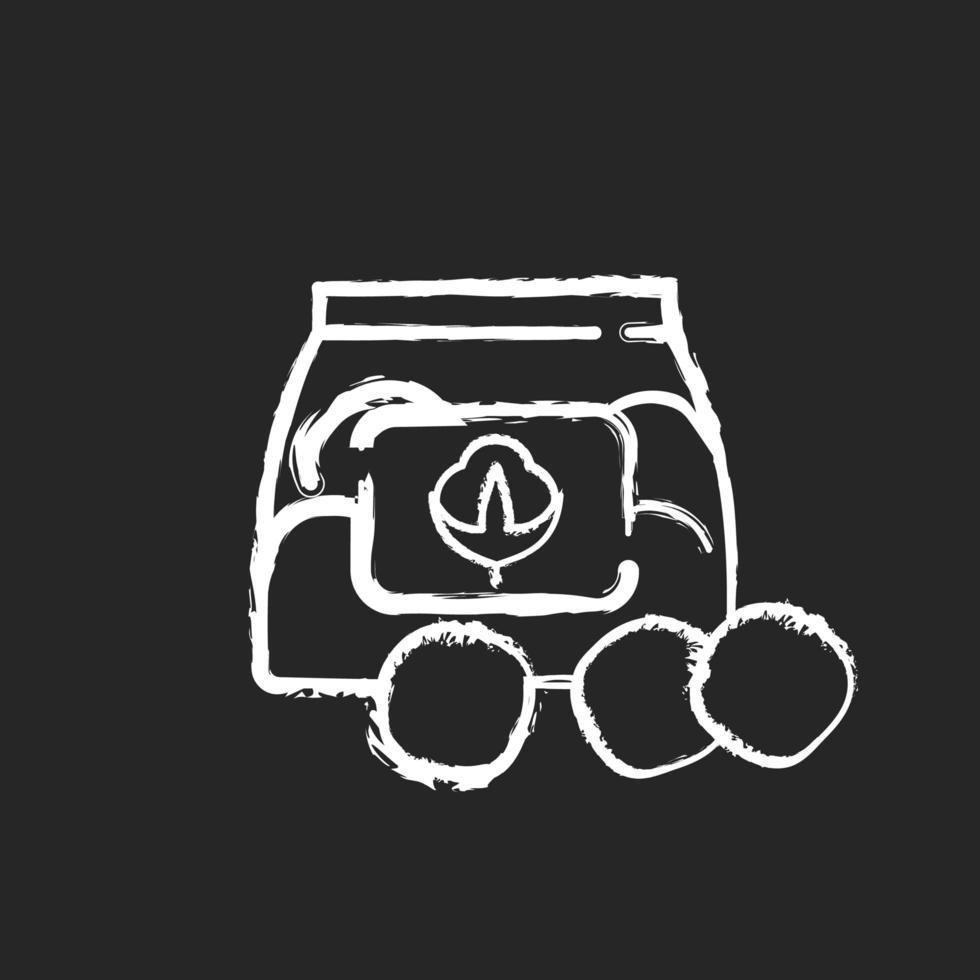 Wattebäusche Kreide weiße Ikone auf schwarzem Hintergrund vektor
