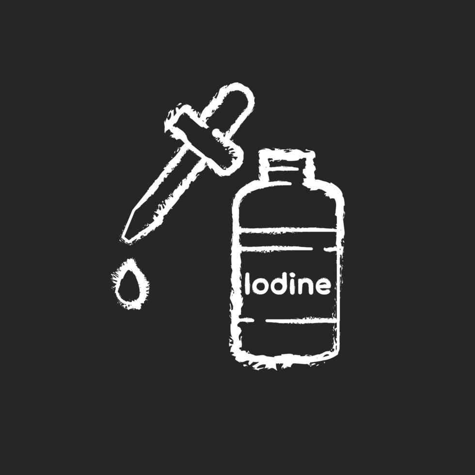 Jodkreide weißes Symbol auf schwarzem Hintergrund vektor