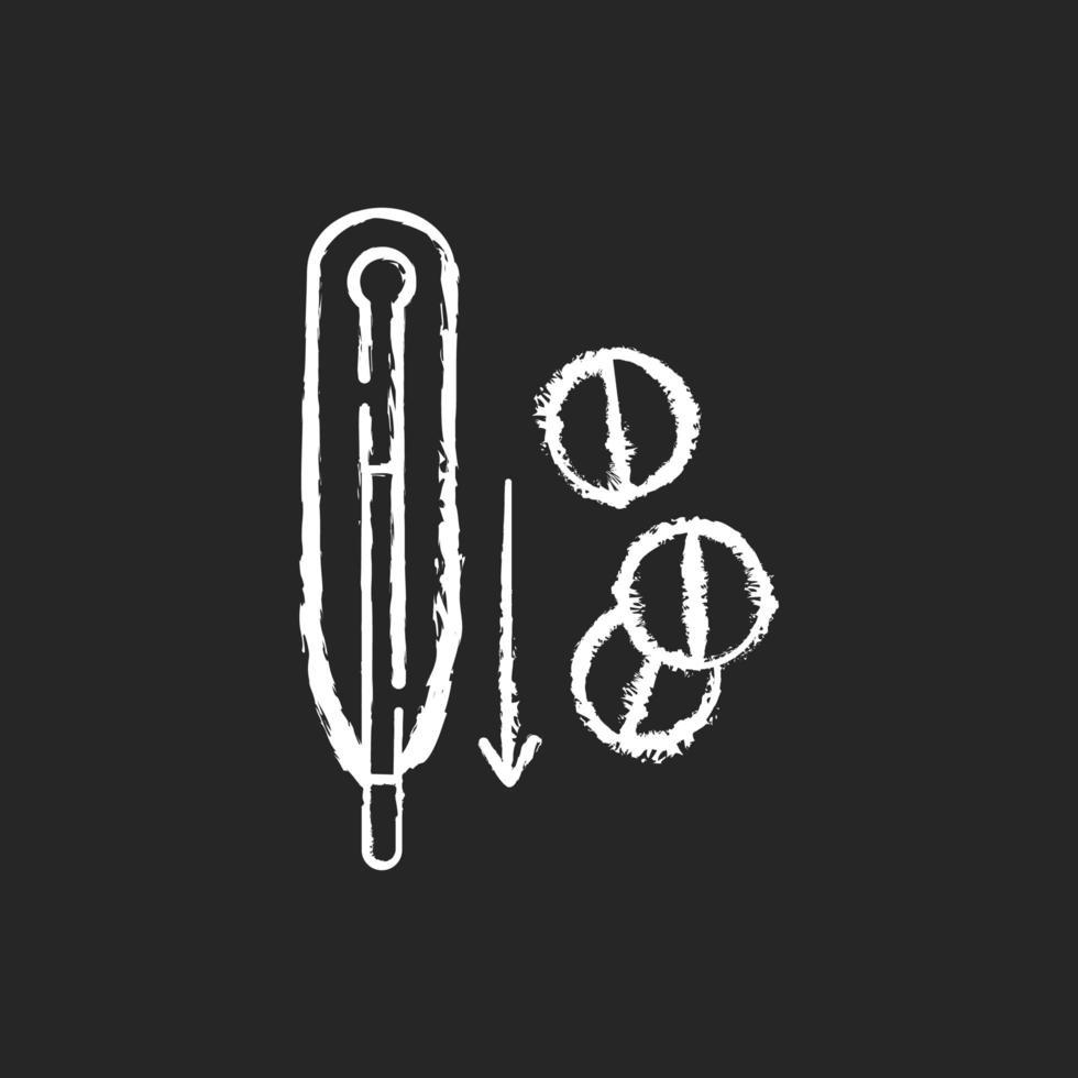 Fieberreduzierungspillen kreiden weiße Ikone auf schwarzem Hintergrund vektor
