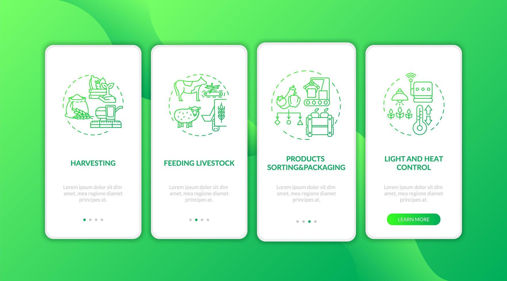 Landwirtschaftsmaschinen Typen Onboarding Mobile App Seite Bildschirm mit Konzepten vektor