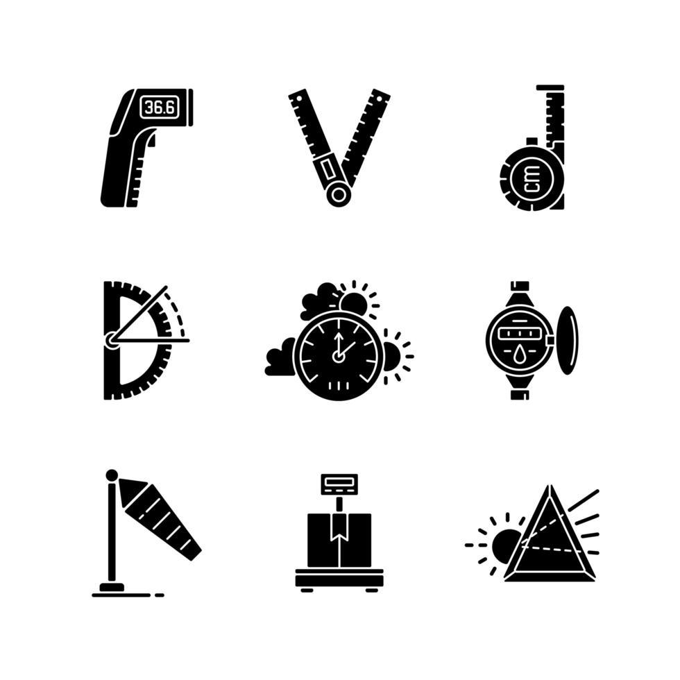 Messinstrumente schwarze Glyphensymbole auf Leerraum gesetzt vektor