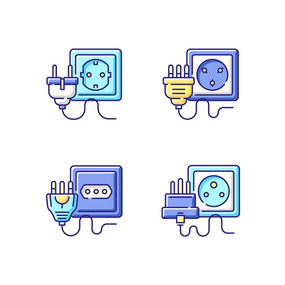 verschiedene Steckdosen RGB-Farbsymbole eingestellt vektor