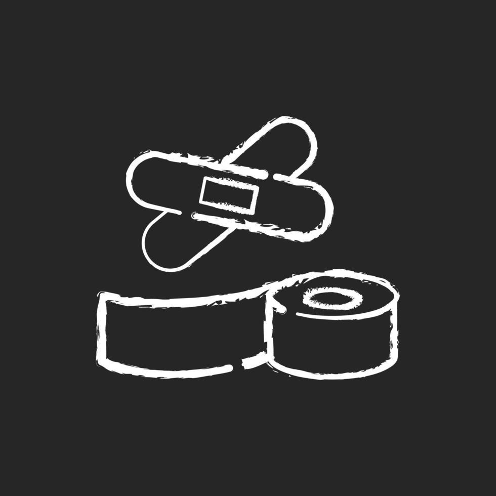 weiße Ikone der Pflaster und des medizinischen Bandkreides auf schwarzem Hintergrund vektor