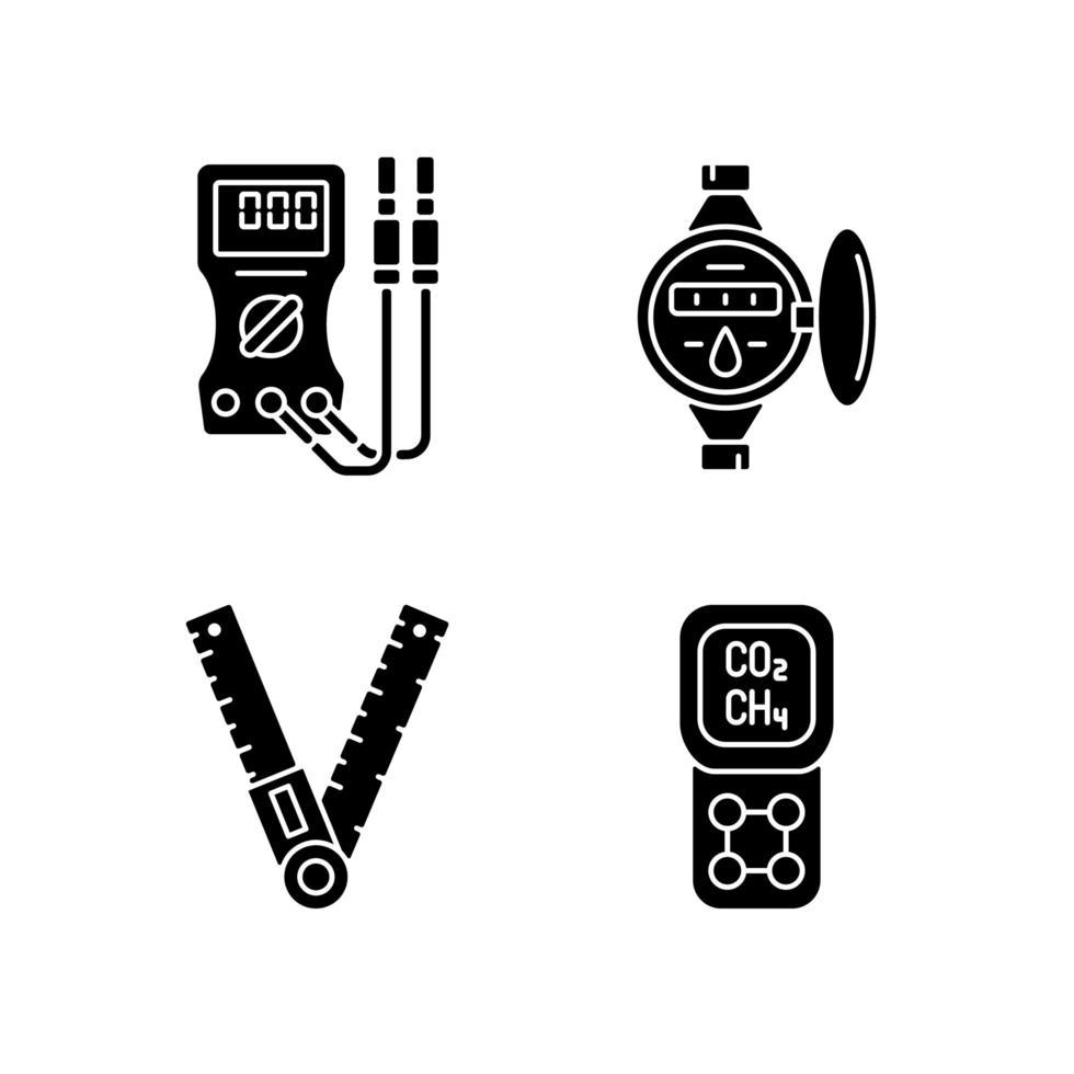 mätverktyg svart glyph ikoner som på vitt utrymme vektor
