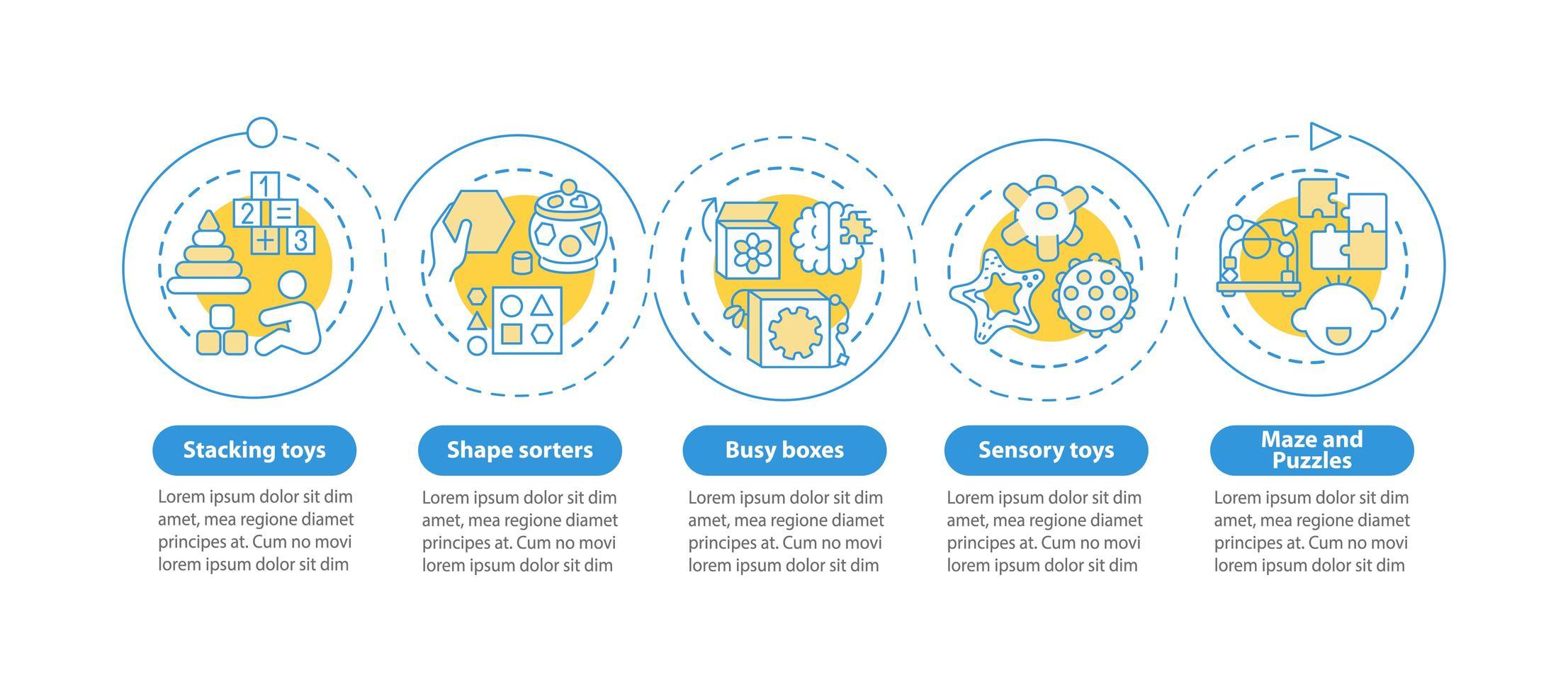 leksaker för tidig barns utveckling vektor infografisk mall