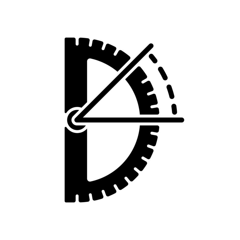 schwarzes Glyphen-Symbol für Halbkreis-Winkelmesser vektor