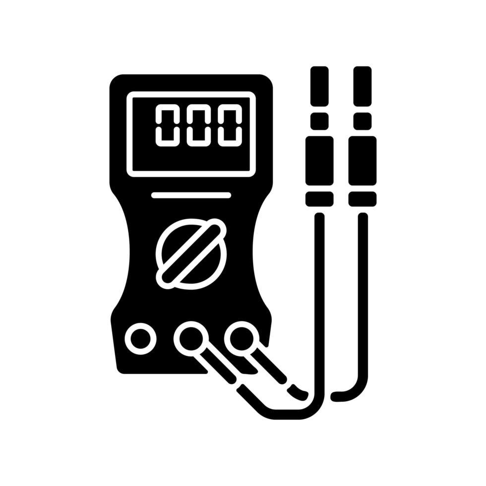 amperemätare svart glyph ikon vektor