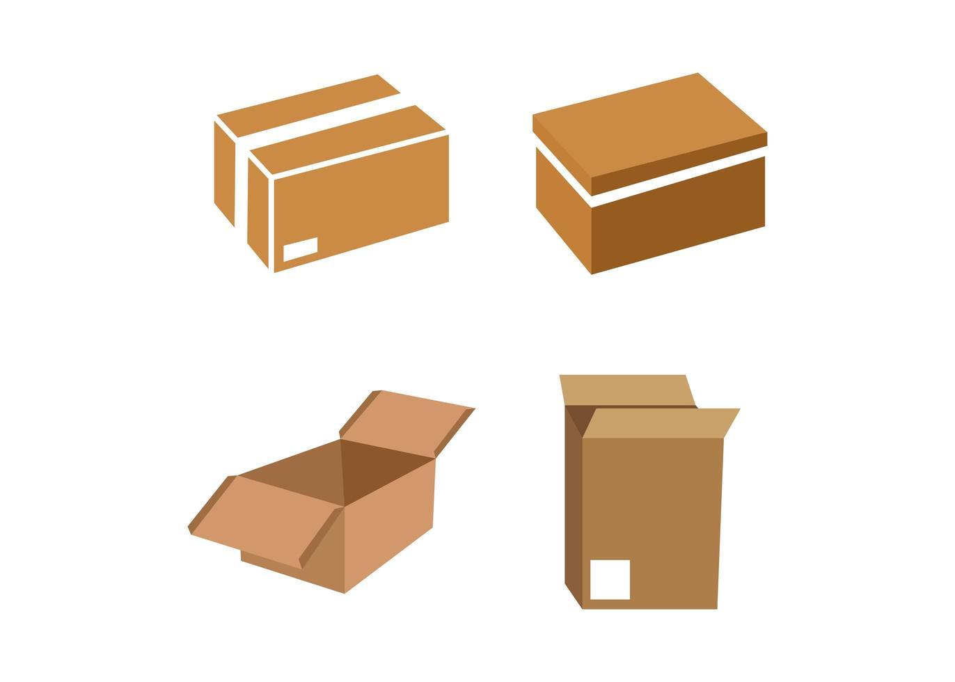 förpackningsbox ikon designuppsättning vektor