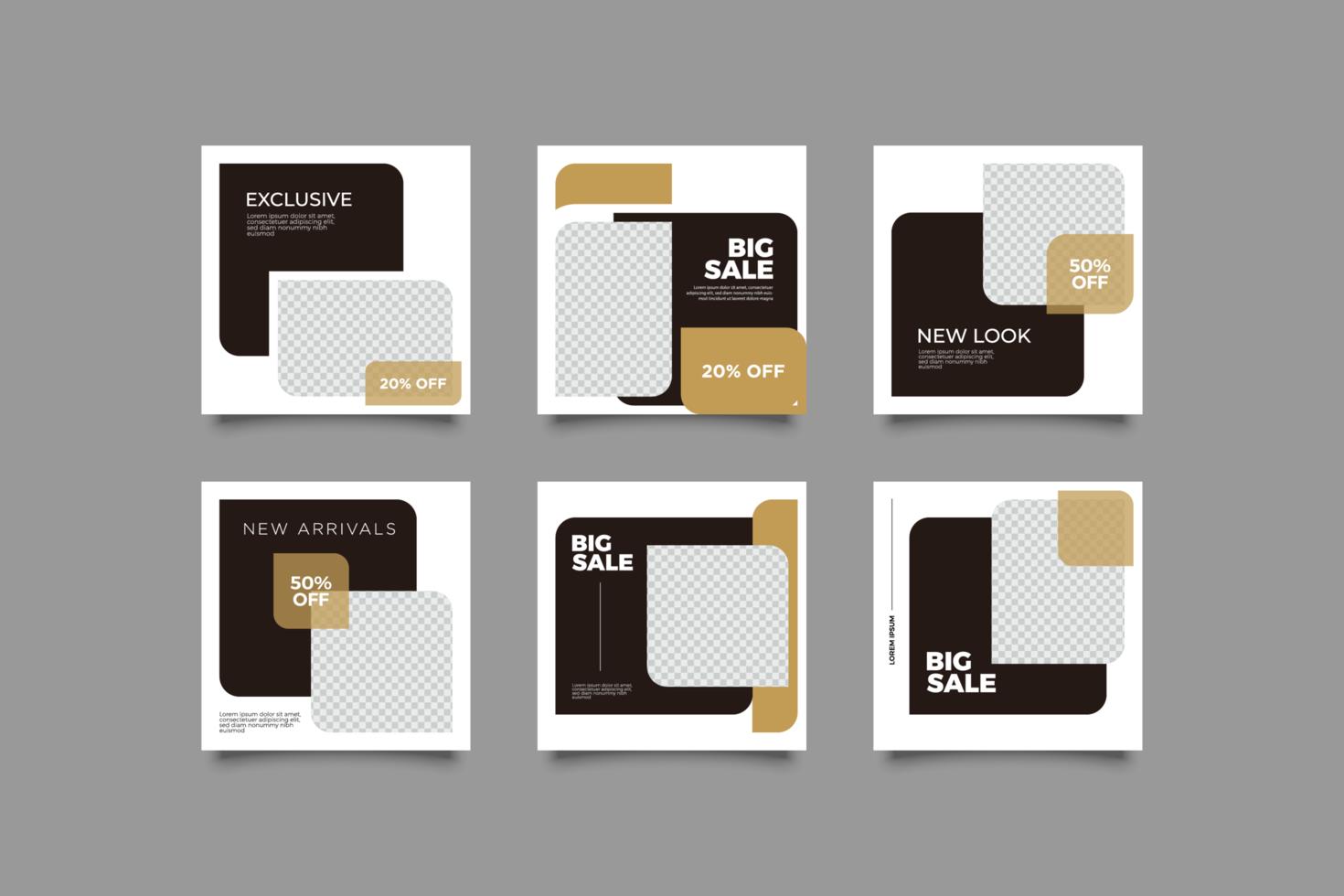 svart och guld sociala medier postmall vektor