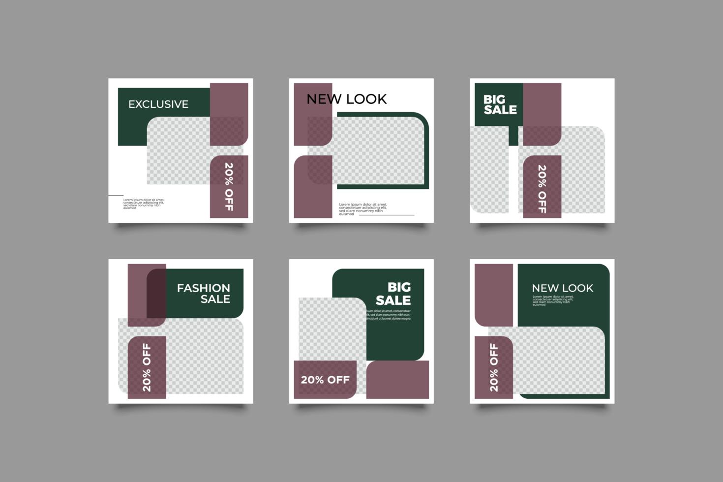 uppsättning redigerbar minimal kvadratisk banner mall vektor