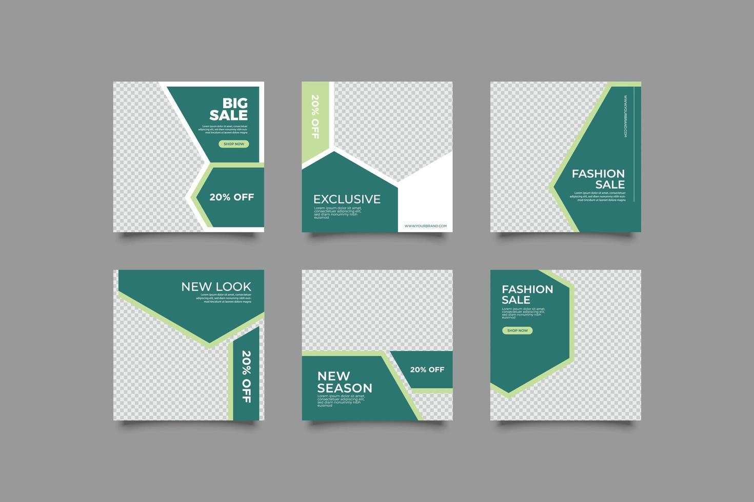 grön sociala medier postmall vektor