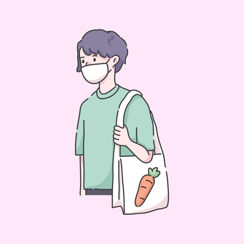 Mann geht zum Lebensmittelgeschäft mit Maskenvirusillustration vektor