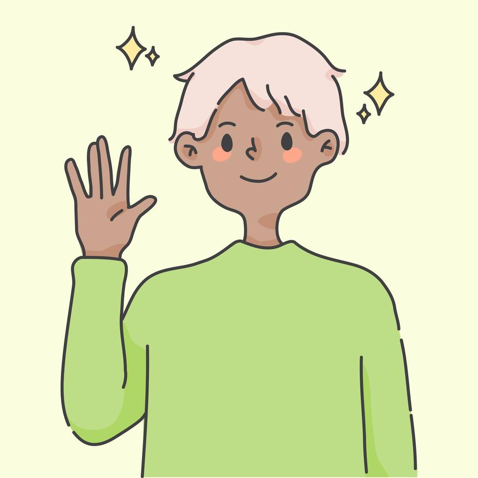 pojke viftande hand hälsning söta människor illustration vektor