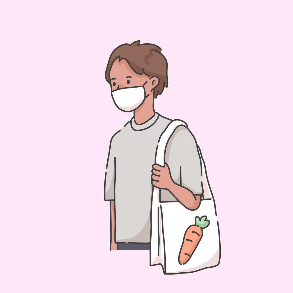 går till livsmedelsbutik bärande mask virus illustration vektor