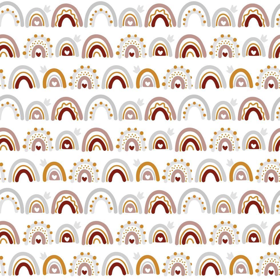 söt vektor regnbåge sömlösa mönster i skandinavisk stil isolerad på vit bakgrund för barn. handritad tecknad illustration för affischer, tryck, kort, tyg, barnböcker