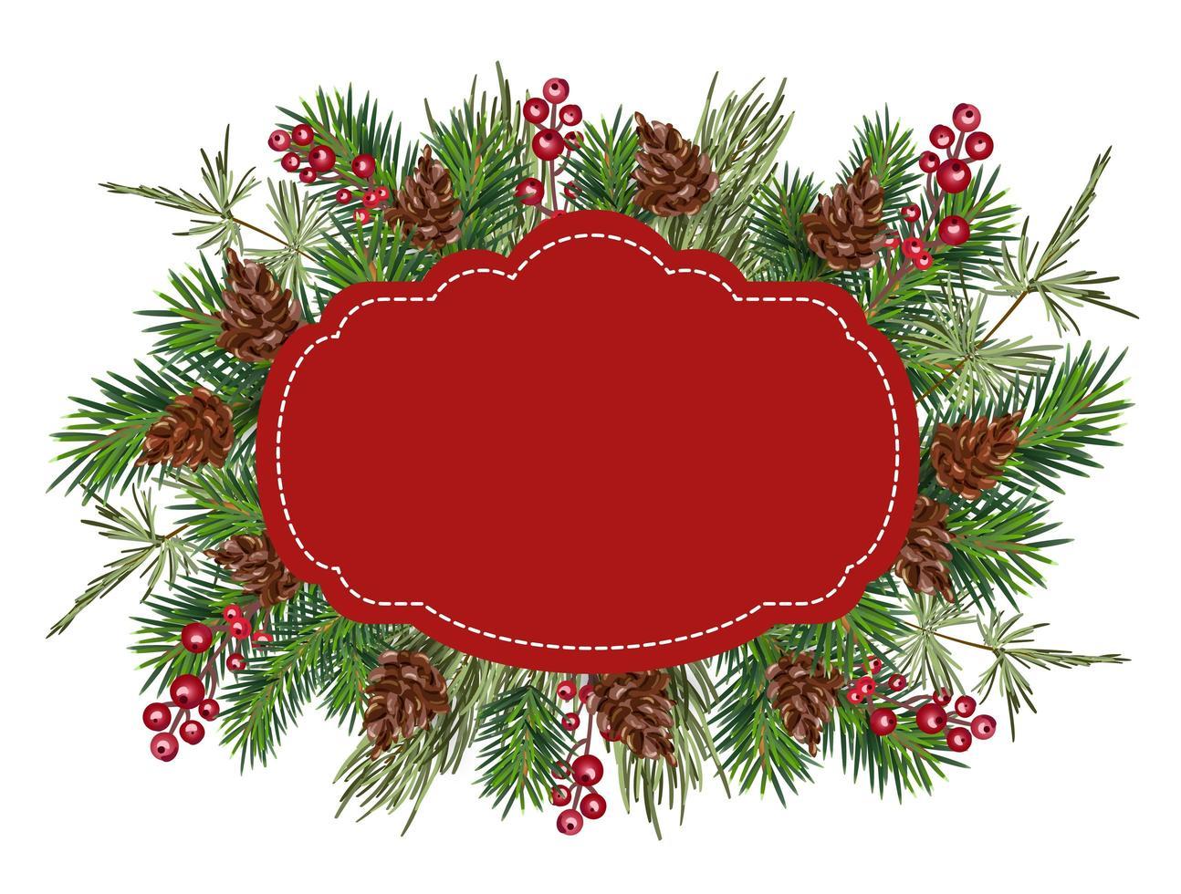 jul vektor gratulationskort ram med plats för din text. realistiska snygga trädgrenar dekorerade med bär och kottar