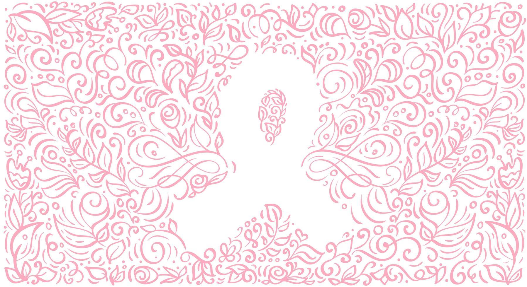 stiliserad rosa vektor banner band av bröst canser för oktober är cancer medvetenhet månad. kalligrafi illustration på rosa blomstra bakgrund