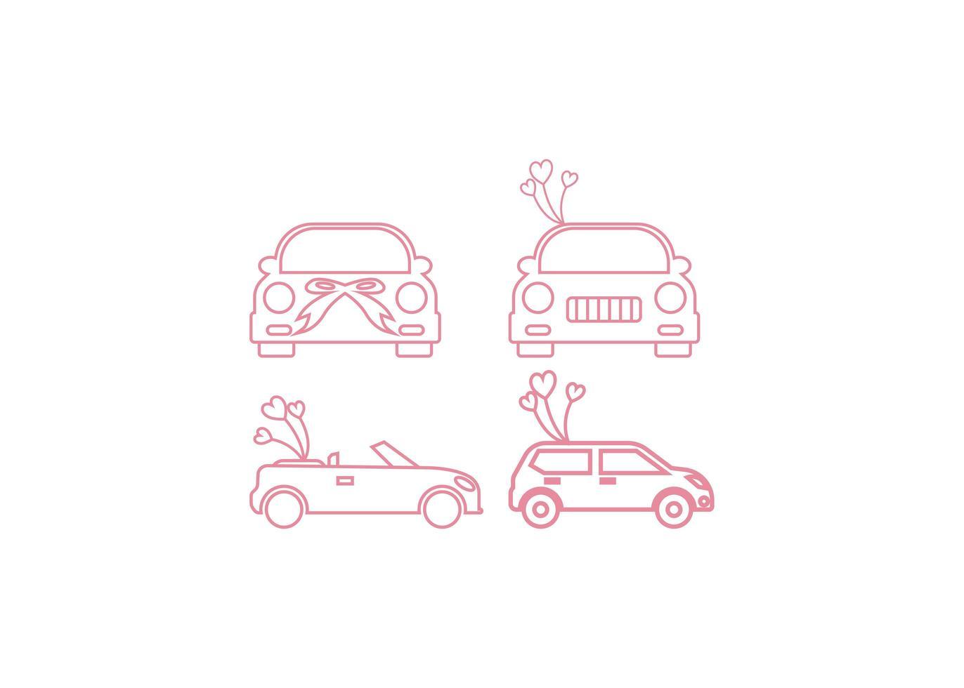 Hochzeitsautoikonen-Entwurfsschablonenvektor lokalisierte Illustration vektor