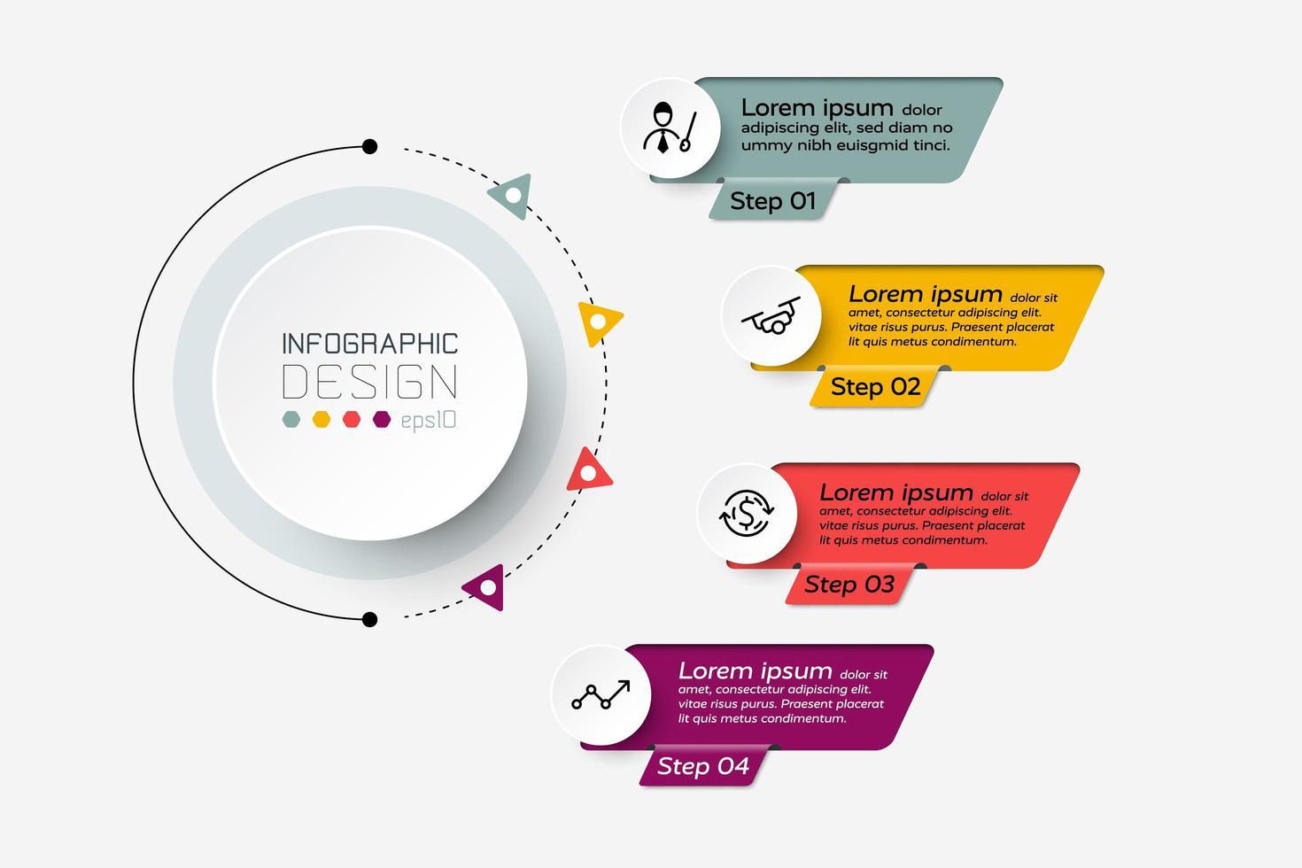 Das Vektordesign beschreibt die Daten anhand eines Diagramms, das 4 Arbeitsschritte zeigt. Infografik. vektor