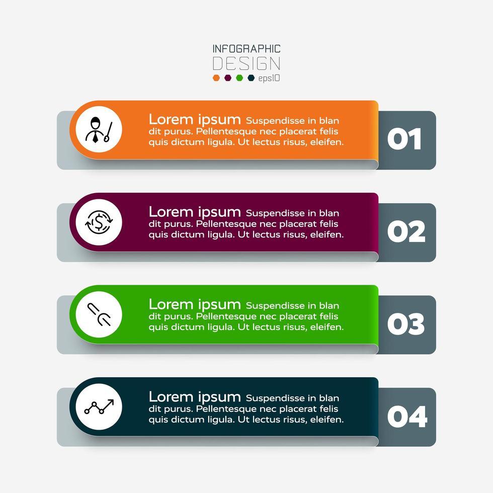 4 Der durch das Format des Etiketts beschriebene Workflow gilt für die präsentierende Organisation. Vektor-Infografik. vektor