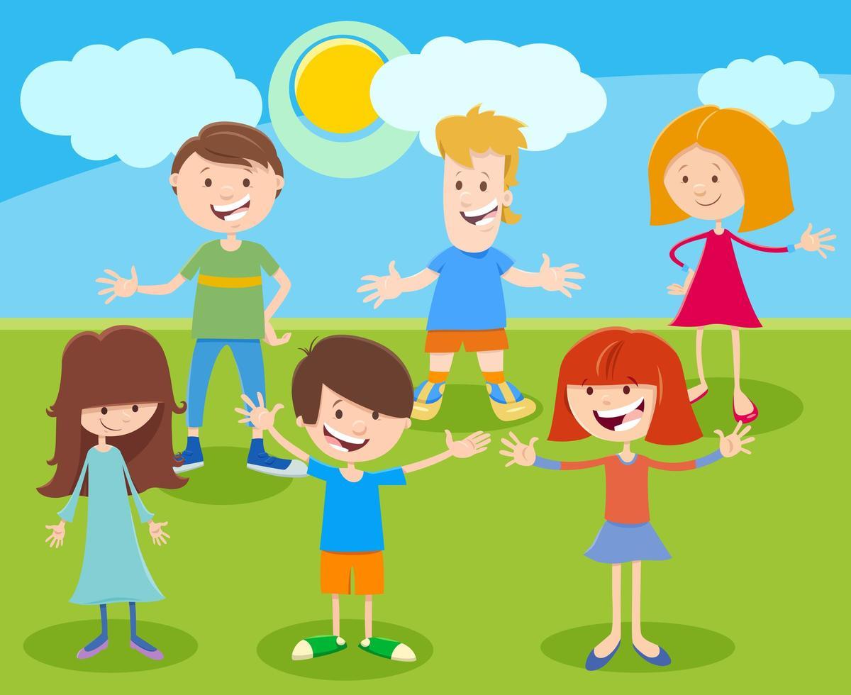 rolig tecknad barn eller tonåringar karaktärsgrupp vektor