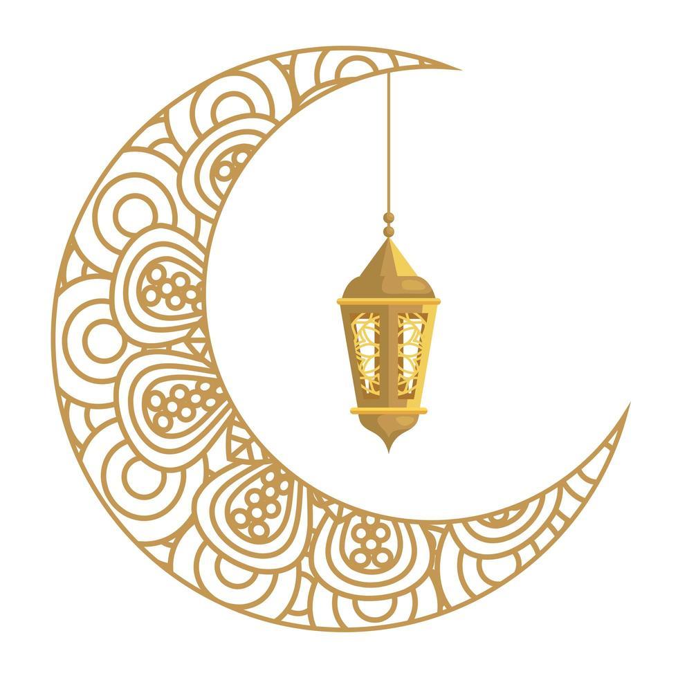 Ramadan Kareem Laterne hängen mit Halbmond golden auf weißem Hintergrund vektor