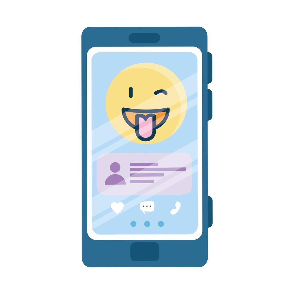 glad blinka emoji och chatta på smartphone vektor design