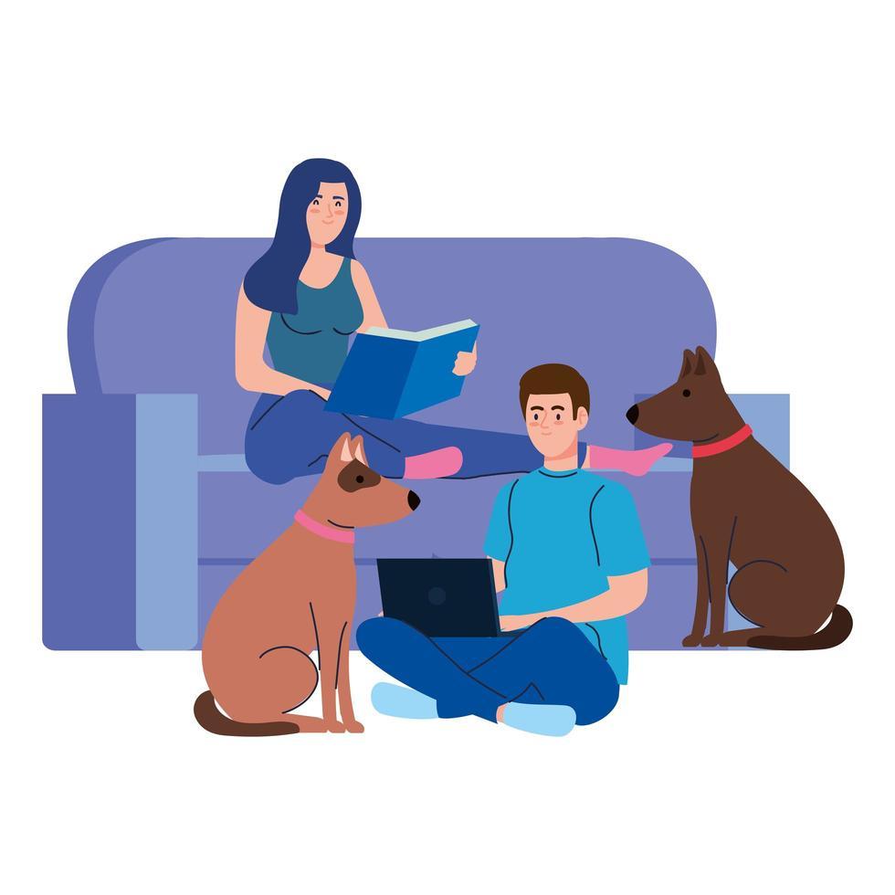 ungt par läser bok och använder bärbar dator sitter i soffan med hundar vektor