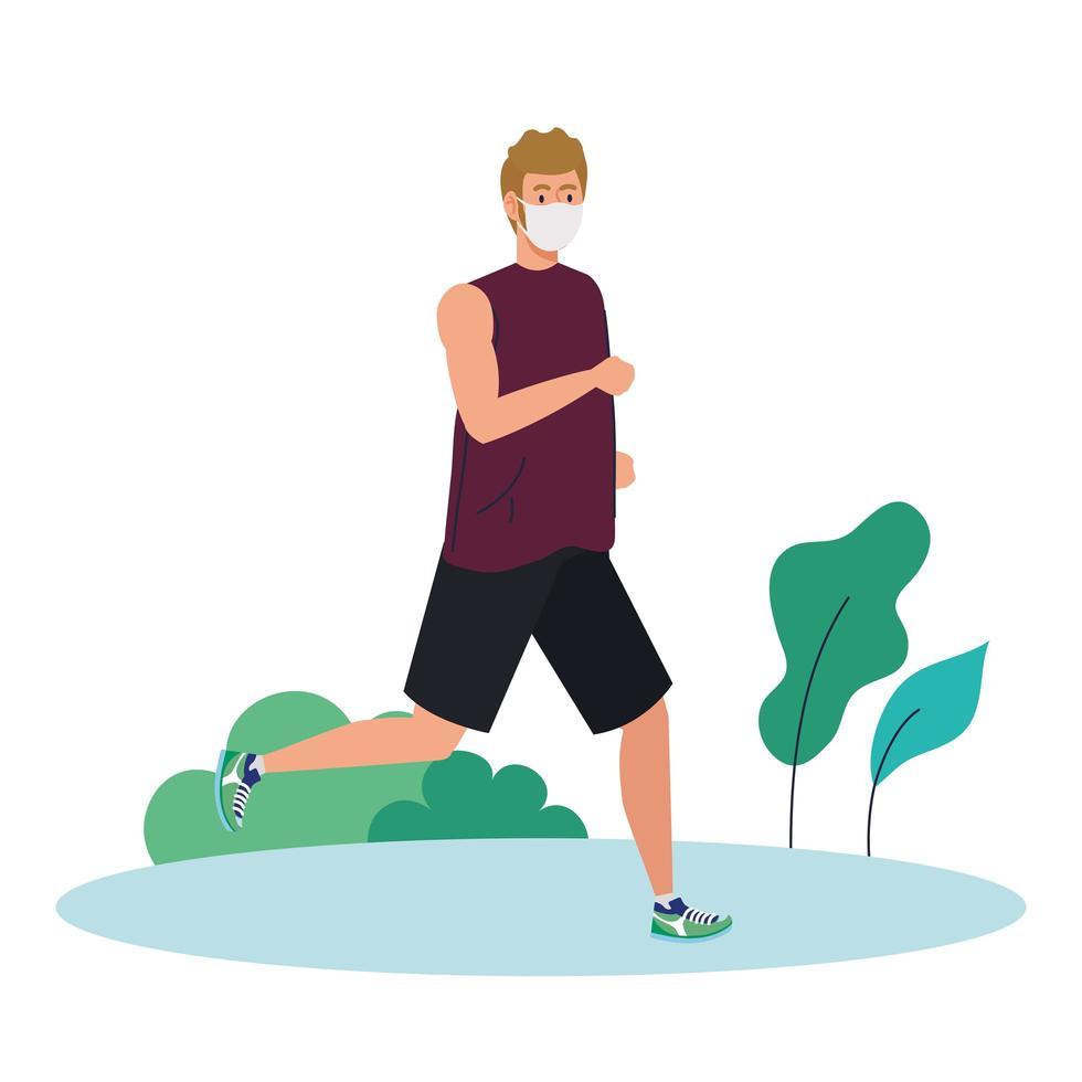 man maratoner kör bärande medicinsk mask, på utomhus, förebyggande coronavirus covid 19 vektor