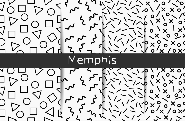 samling av fyra svartvita memphis sömlösa mönster vektor