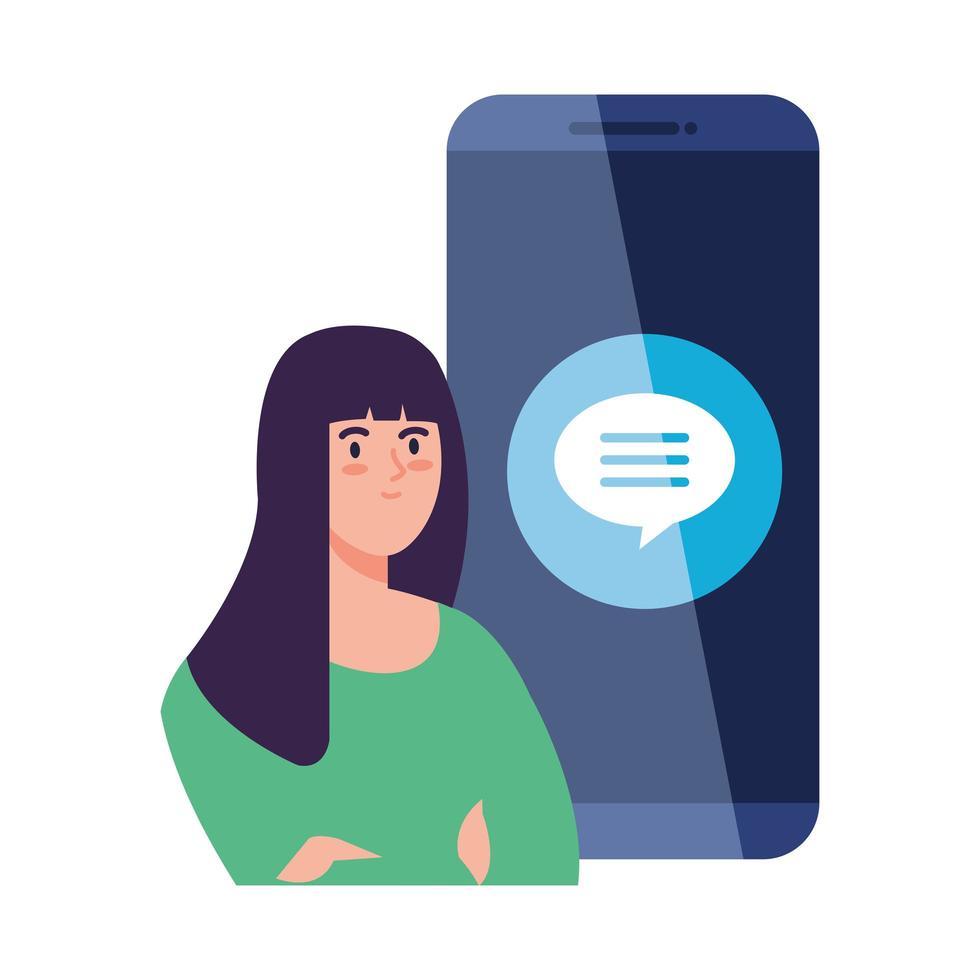 sociala medier koncept, kvinna med pratbubblan i smartphone vektor