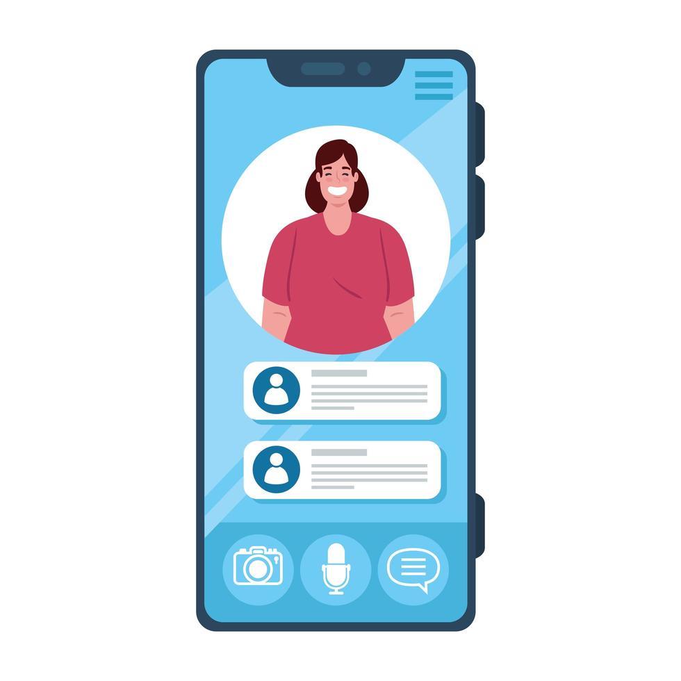 online chattmeddelanden, kvinna på skärmen på smarttelefonen, chatt digital kommunikation online vektor