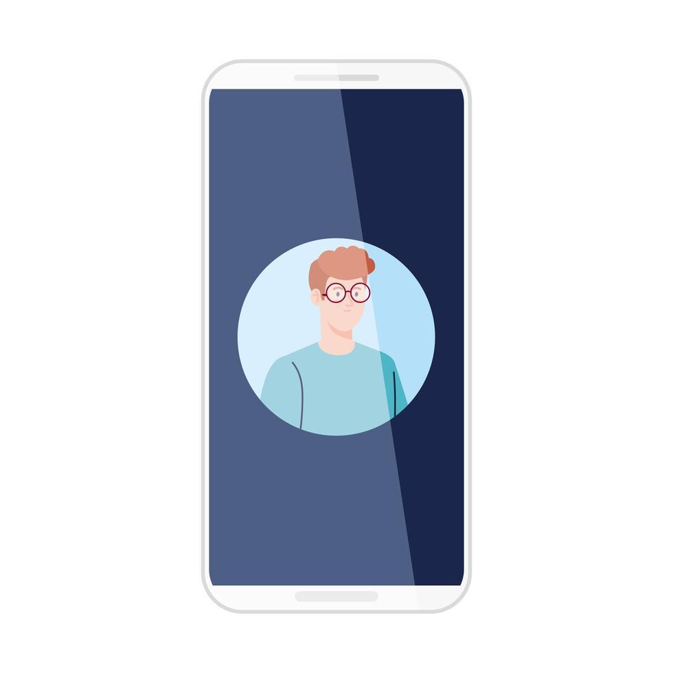 smartphone med bildman på skärmen, på vit bakgrund vektor