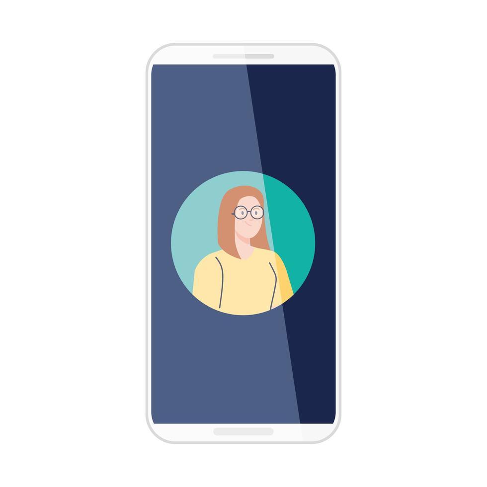 Smartphone mit Bildfrau im Bildschirm, auf weißem Hintergrund vektor