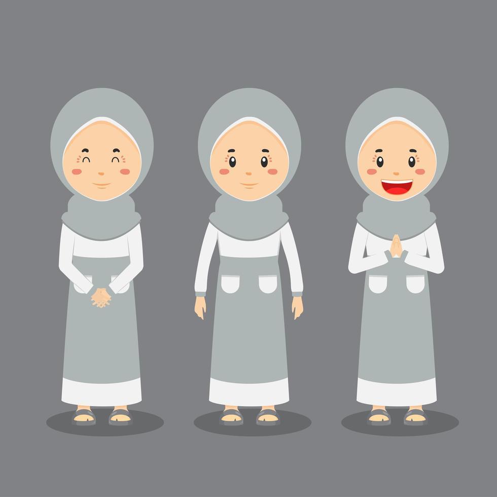 weiblicher muslimischer Charakter mit verschiedenen Ausdrücken vektor