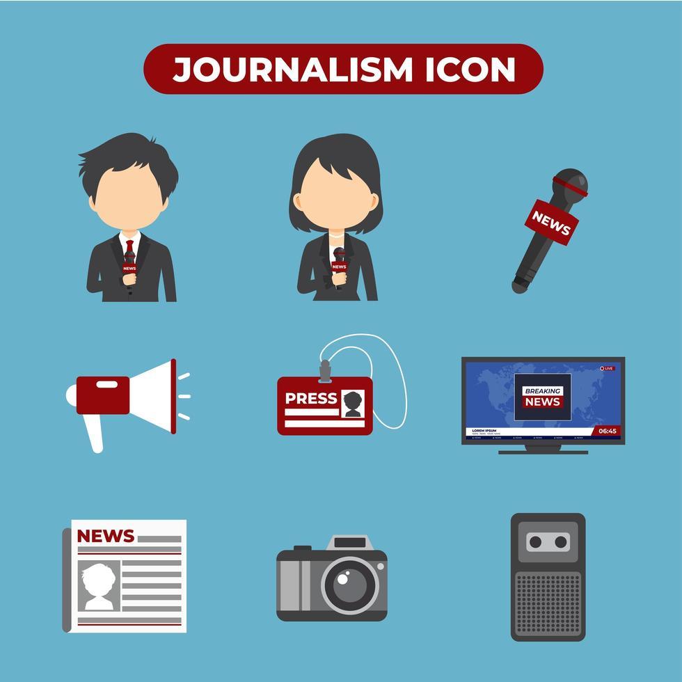 ställa in 9 av journalistik ikoner vektor