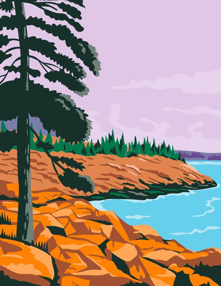parkera i sydvästra Maine USA affischkonst i färg vektor