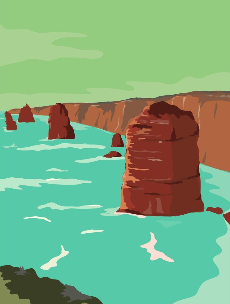 Kalksteinstapel im australischen Plakat im Retro-Stil vektor