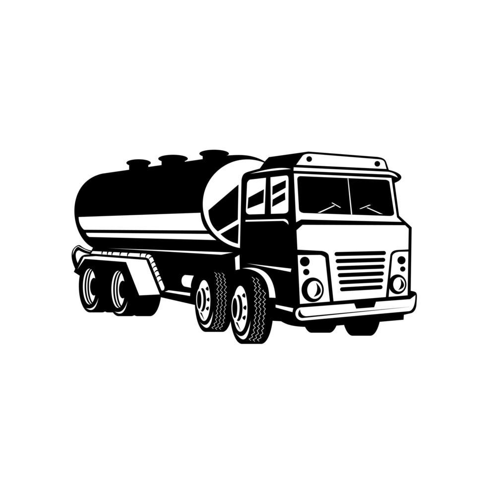 Tankwagen Tankwagen oder Tankwagen Retro Holzschnitt in schwarz und weiß vektor