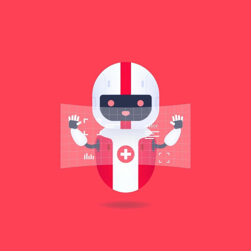 medicinsk vänlig Android-robot med hud-gränssnittsskärm. söt och leende ai robot. vektor