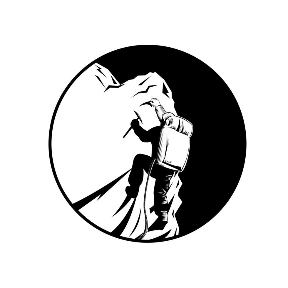 bergsklättrare eller bergsklättrare med isyxklättring toppmöte retro träsnitt i svartvitt vektor