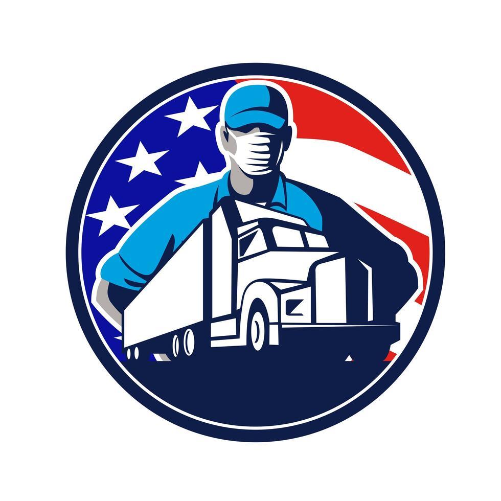 amerikansk lastbilschaufför bär mask usa flagga cirkel maskot emblem vektor