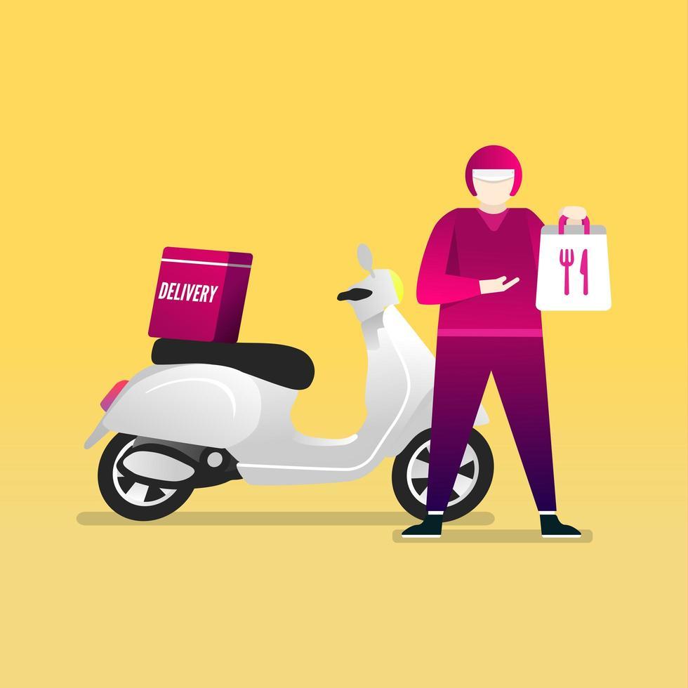 Lieferbote hält einen Lebensmittelbeutel mit einem Motorrad stehend. Lebensmittel-Lieferservice per Roller mit Kurier. vektor