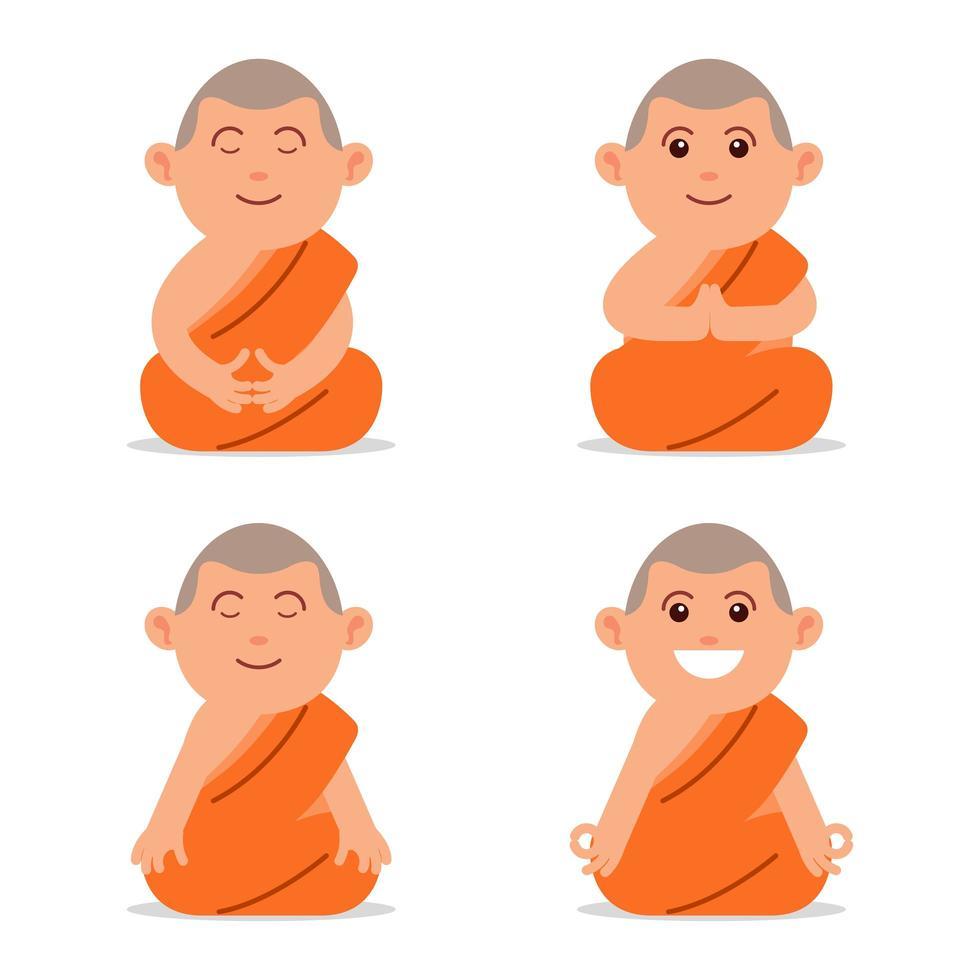 mediterar buddhistisk munk platt karaktär vektor