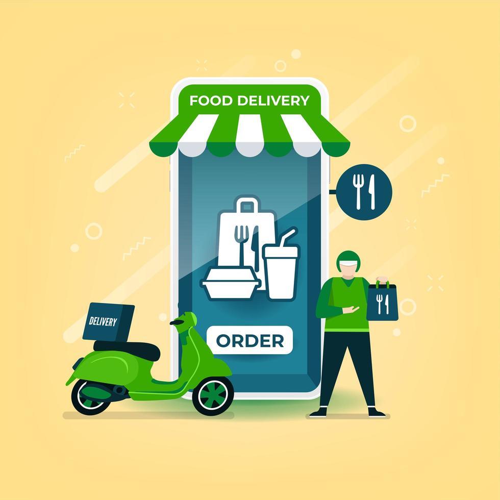 Lieferbote hält einen Lebensmittelbeutel mit einem Motorrad stehend. Lebensmittellieferung online über mobile Anwendung. vektor