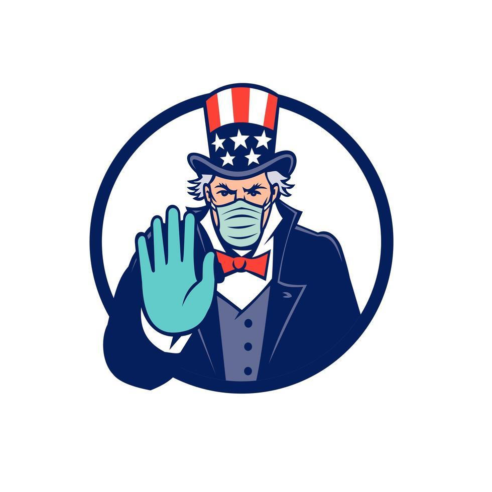 Onkel Sam trägt Maske Stop Hand Signal Maskottchen Emblem vektor