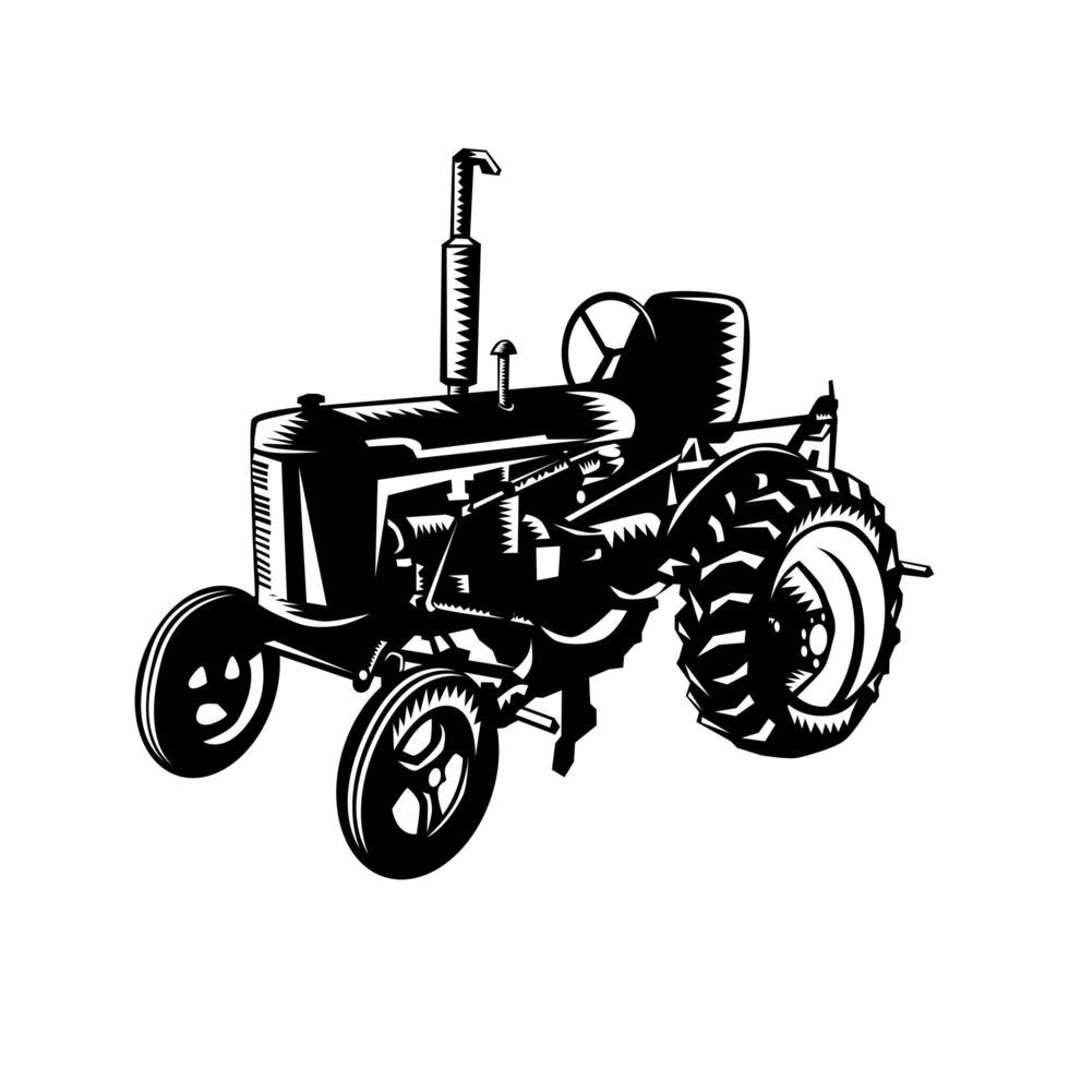 vintage lantbrukstraktor retro träsnitt svartvitt vektor